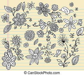 szórakozottan firkálgat, vektor, állhatatos, virág, jegyzetfüzet