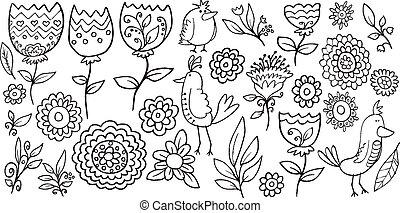 szórakozottan firkálgat, vektor, állhatatos, virág, madár