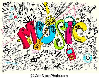 szórakozottan firkálgat, zene