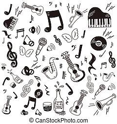 szórakozottan firkálgat, zene, ikon, állhatatos, húzott, kéz