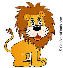 szórakoztató, oroszlán, fiatal