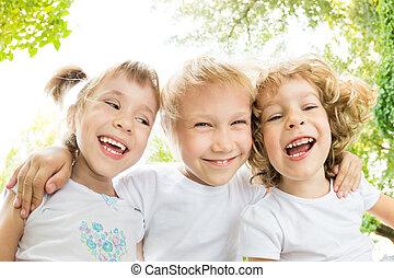 szög, alacsony, portré, kilátás, gyerekek, boldog