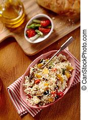 szög, recept, veggie, magas, quinoa, kilátás