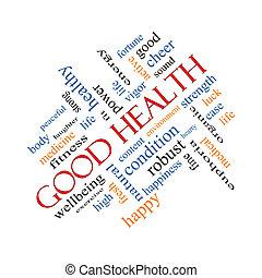 szögletes, jó, szó, fogalom, egészség, felhő