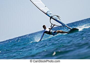 szörfözás, fiatal, víz, loccsan, felteker, ember