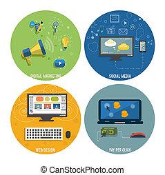 szövedék icons, média, társadalmi, seo, tervezés
