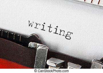 szöveg, írás, retro, írógép
