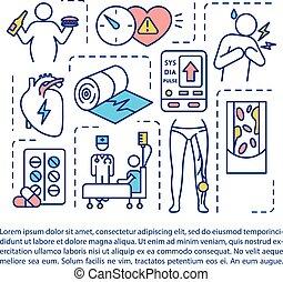 szöveg, betegségek, cardiovascular, ikon, fogalom