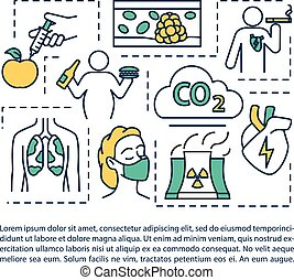 szöveg, betegségek, cardiovascular, ikon, fogalom, tényezők