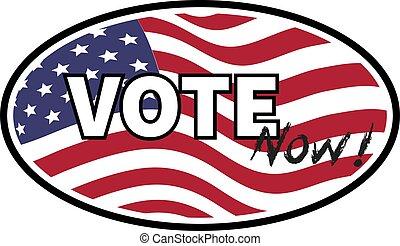 szöveg, egyesült, embléma, lobogó, egyesült államok, háttér., böllér, vektor, ábra, jelenleg, szavaz
