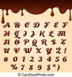 szöveg, elkészített, csokoládé
