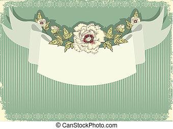szöveg, háttér, virágos, szüret, .flowers, levelezőlap