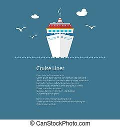 szöveg, hajó, tenger, cirkálás