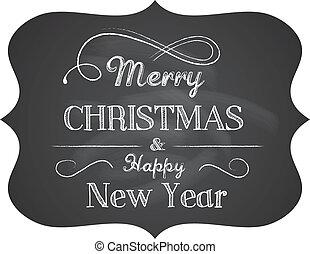 szöveg, karácsony, chalkboard, háttér, finom