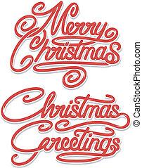 szöveg, karácsony, vidám, calligraphic