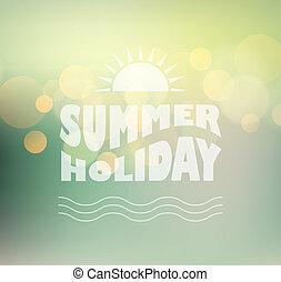 szöveg, napos, háttér, ragyog, nyár, vektor