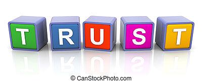 szöveg, 'trust', színes, 3