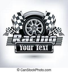 szöveg, versenyzés, embléma, &, fehér