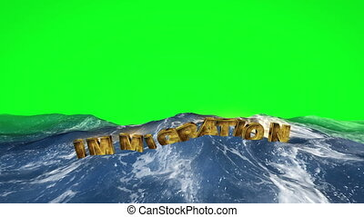 szöveg, zöld, bevándorlás, víz, ellenző, úszó