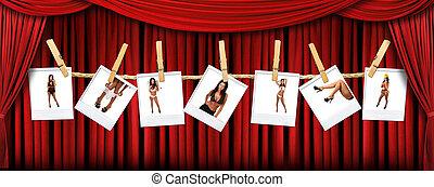 szövettel bevon, polaroids, színház, elvont, háttér, csípős, női, szexi, piros, fokozat