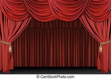 szövettel bevon, színház, háttér, fokozat