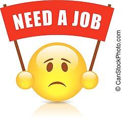szükség, munka, transzparens, piros