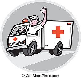 szükséghelyzet, metőautó driver, hullámzás, jármű, karikatúra