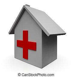 szükséghelyzet, orvosi klinika, ikon, kórház, látszik