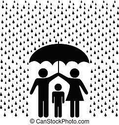 szülők, oltalmaz, esernyő, eső, gyermek