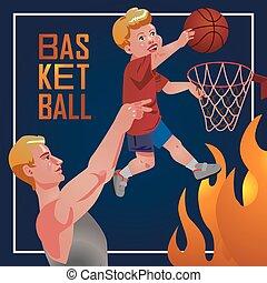szülők, sport, -, gyerekek, basketball.