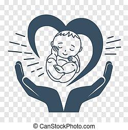 születés, árnykép, ikon, gyermek