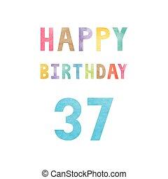 születésnap, 37th, évforduló kártya, boldog