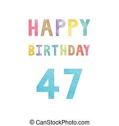 születésnap, 47th, évforduló kártya, boldog