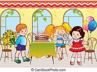 születésnap, buli., boldog