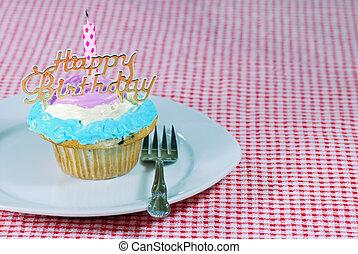 születésnap, cupcake, tányér