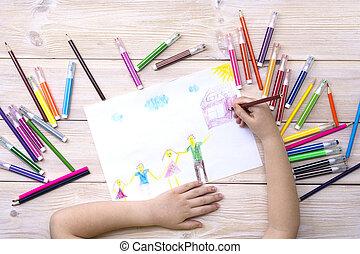 születésnap, elkészített, pencils., gyermek, csalogat, rajz, színes, kártya, megír, felt-tip, boldog, gyermekek, family., övé