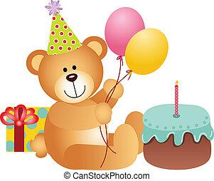 születésnap, hord, teddy-mackó
