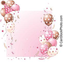 születésnap kártya, rózsaszínű