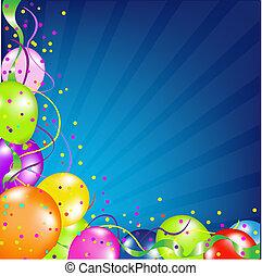 születésnap, léggömb, háttér, rövid napsütés