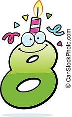 születésnap, nyolc, karikatúra, szám