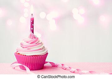 születésnap, rózsaszínű, cupcake
