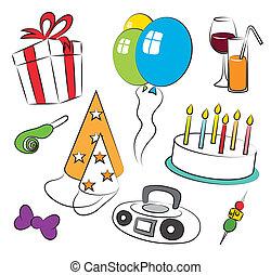 születésnap, színes, fél