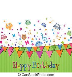 születésnap, vektor, kártya, boldog