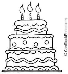 születésnapi torta, körvonalazott
