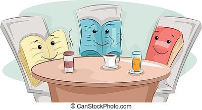 szünet, klub, előjegyez, kávécserje, kabala, könyv