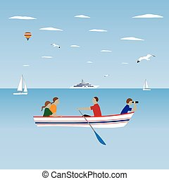 szünidő, család, boat.