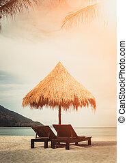 szünidő, nyár, tengerpart holiday, homokos, idegenforgalom, esernyő, tenger, utazás, elnökké választ