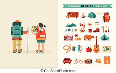 szüret, állhatatos, ikonok, backpackers, párosít, vektor, poszter