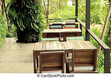 szüret, erdő, asztal