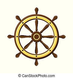 szüret, fehér, elszigetelt, navigation., hajó, jelkép, gördít, háttér.